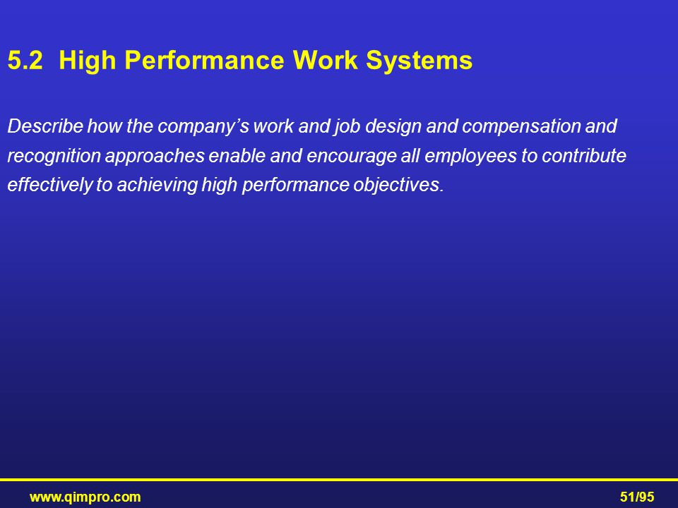 5.2 High Performance Work Systems