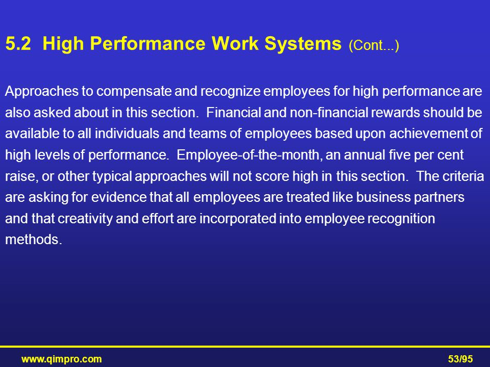 5.2 High Performance Work Systems (Cont...)