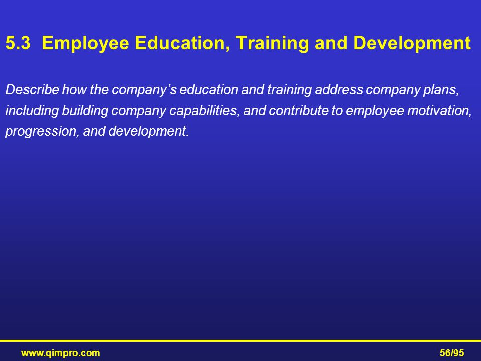 5.3 Employee Education, Training and Development