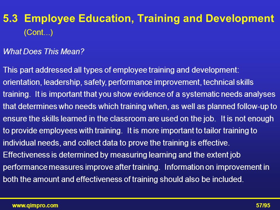 5.3 Employee Education, Training and Development (Cont...)