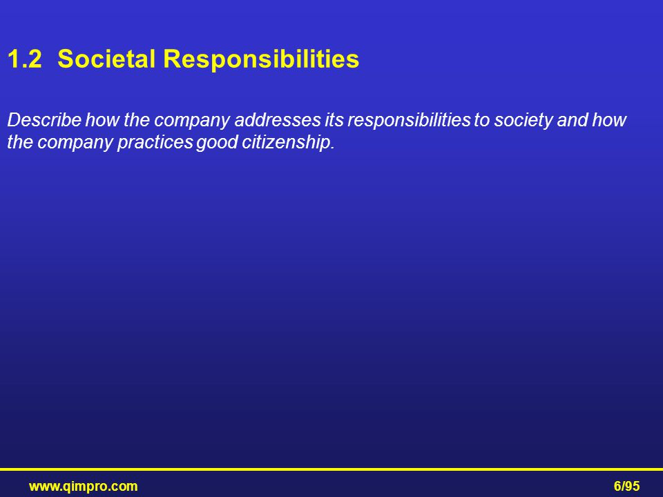 1.2 Societal Responsibilities