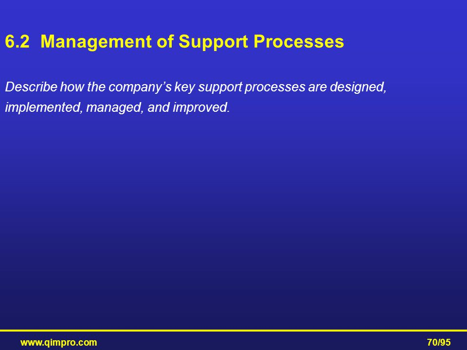 6.2 Management of Support Processes