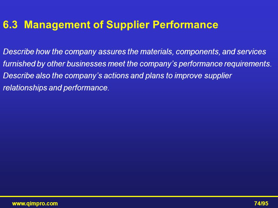 6.3 Management of Supplier Performance