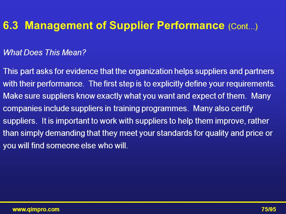 6.3 Management of Supplier Performance (Cont...)