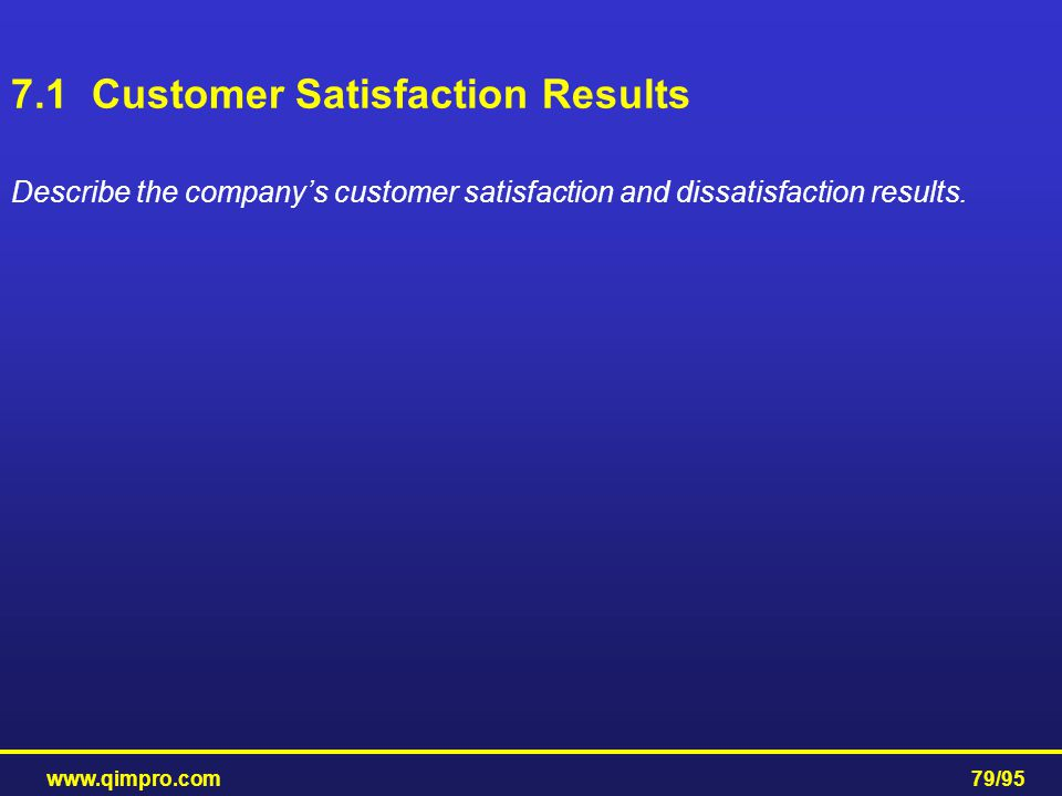 7.1 Customer Satisfaction Results