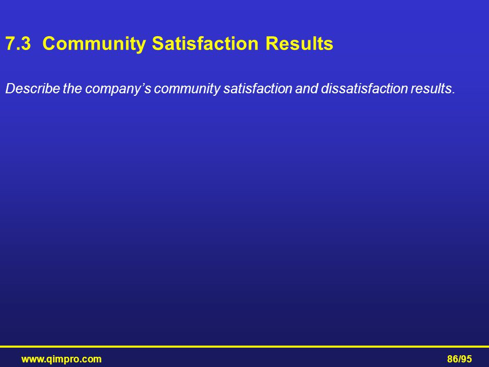 7.3 Community Satisfaction Results