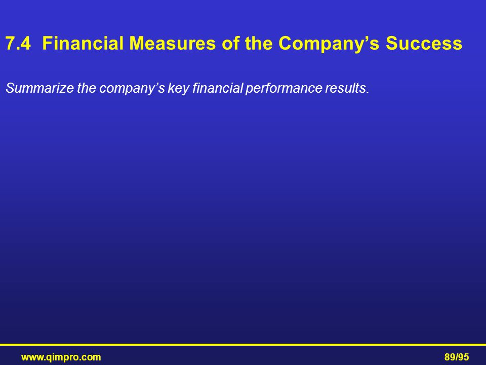 7.4 Financial Measures of the Company's Success