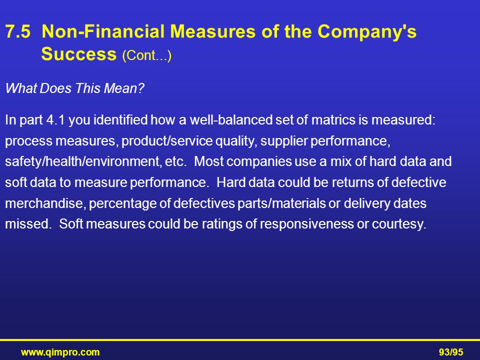 7.5 Non-Financial Measures of the Company s Success (Cont...)