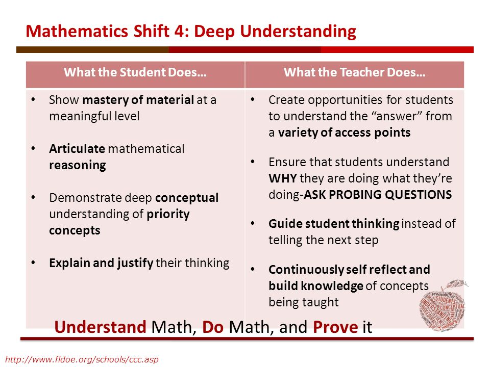 Mathematics Shift 4: Deep Understanding