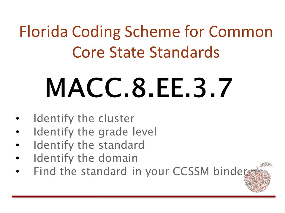 Florida Coding Scheme for Common Core State Standards