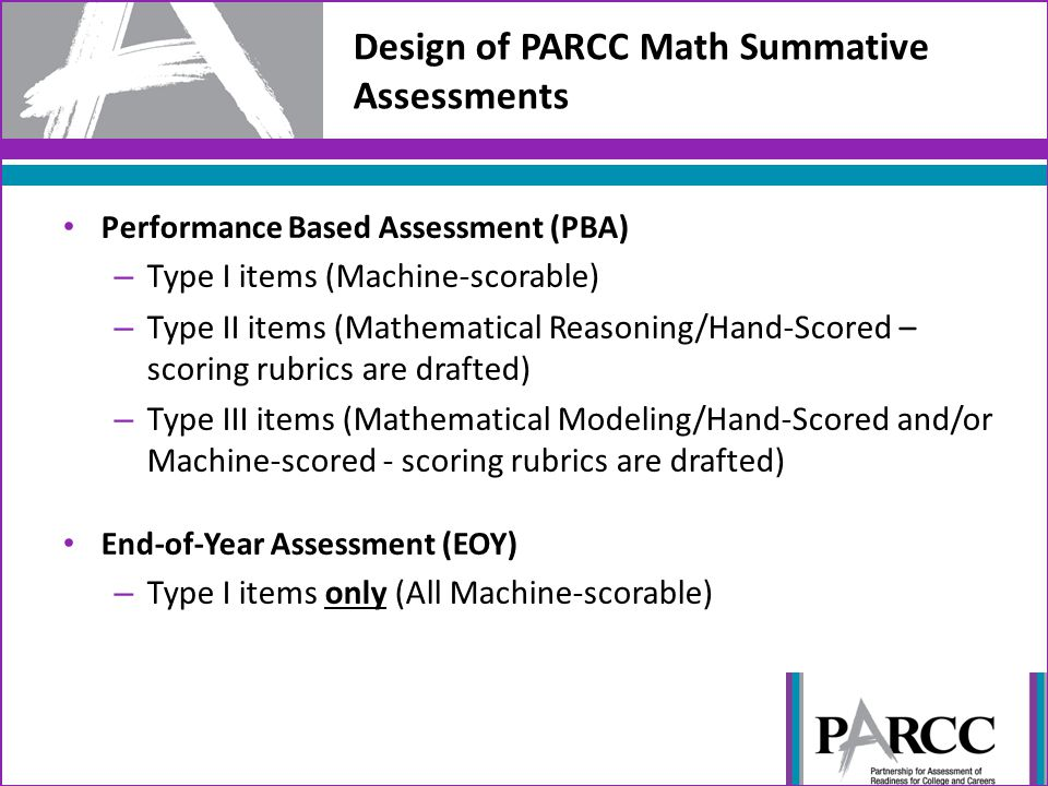 Design of PARCC Math Summative Assessments