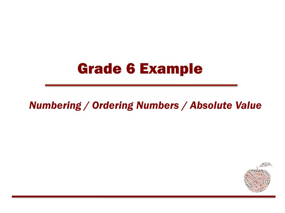 Grade 6 Example Numbering / Ordering Numbers / Absolute Value