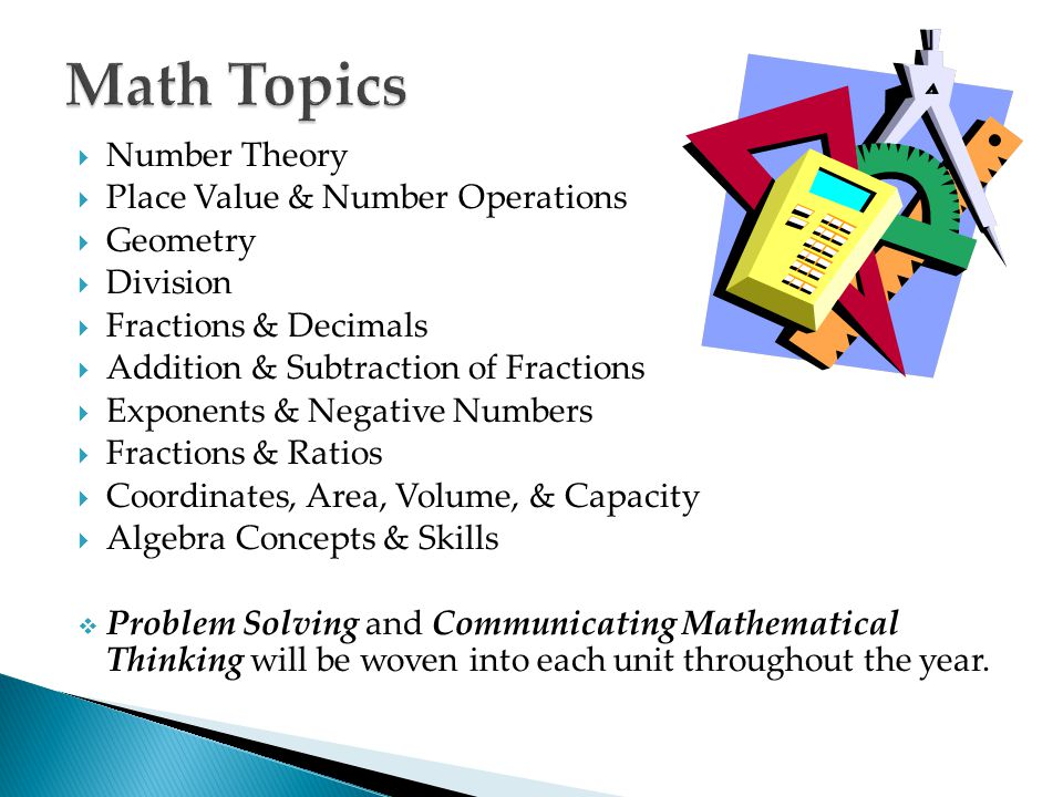 Math Topics Number Theory Place Value & Number Operations Geometry