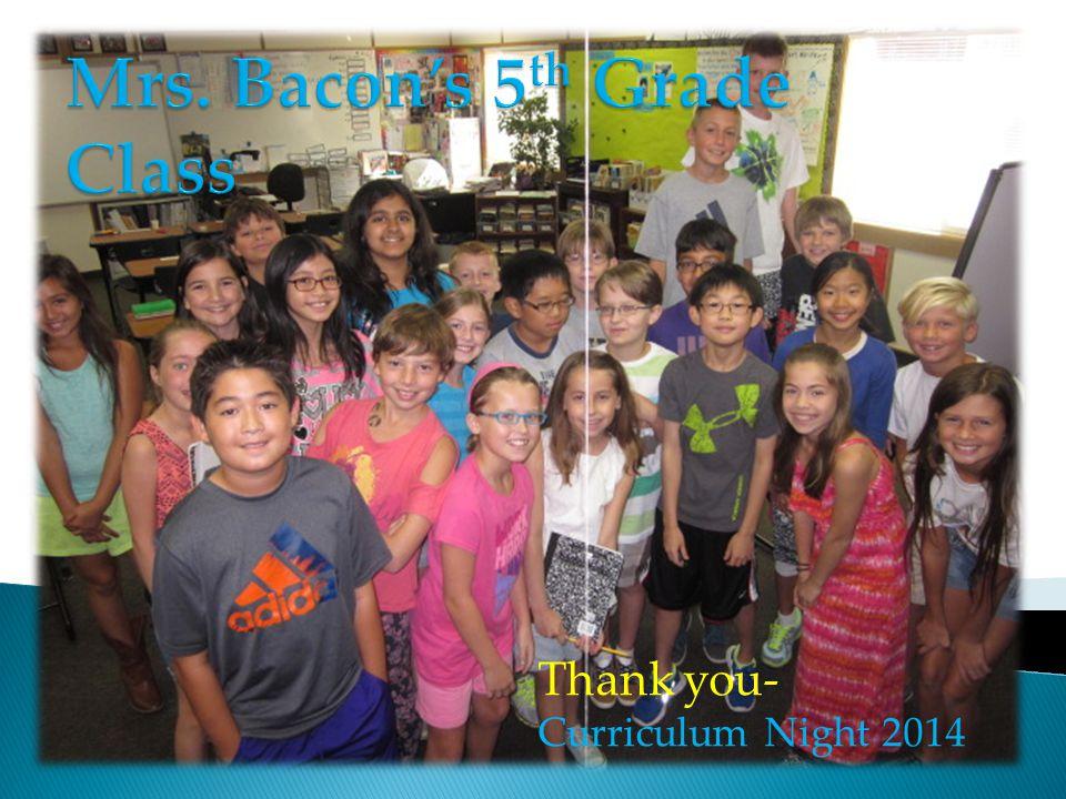 Mrs. Bacon's 5th Grade Class