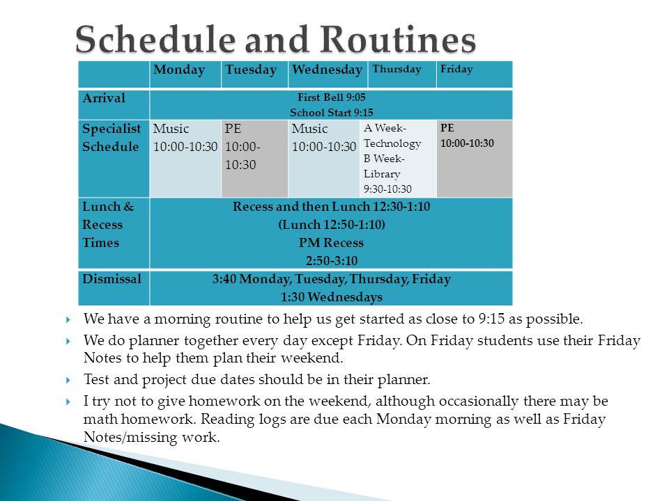 Schedule and Routines Monday. Tuesday. Wednesday. Thursday. Friday. Arrival. First Bell 9:05 School Start 9:15.