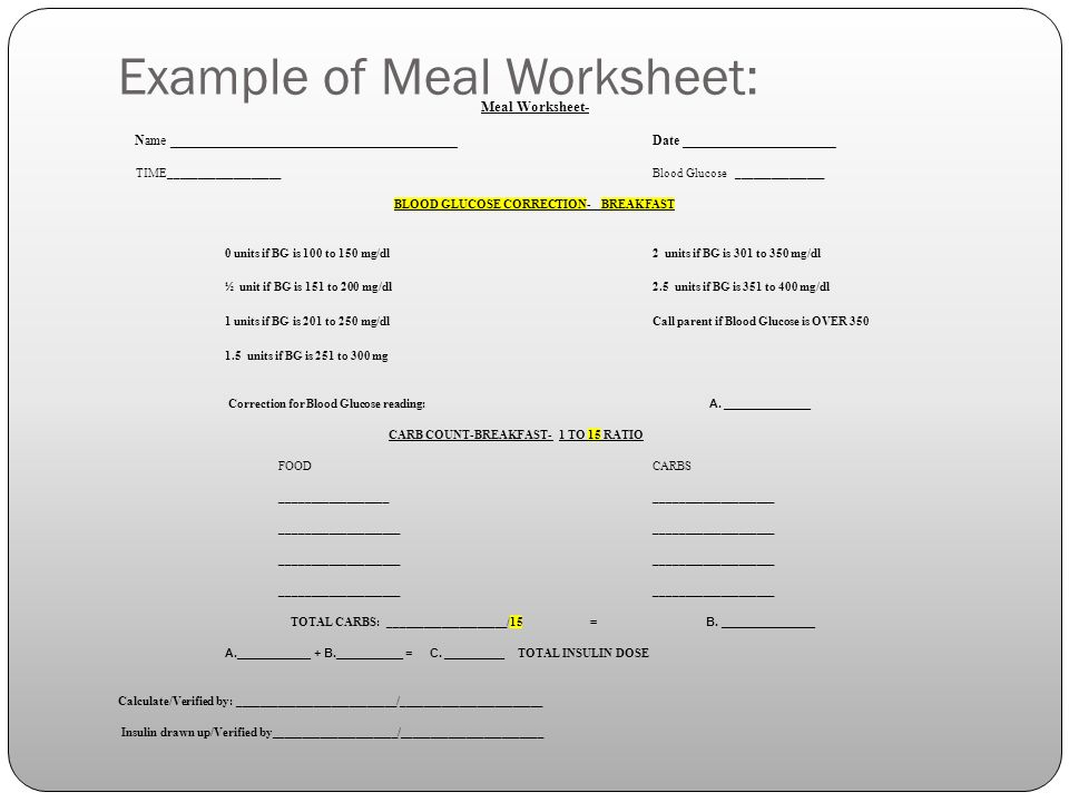 Example of Meal Worksheet: