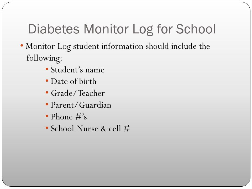 Diabetes Monitor Log for School