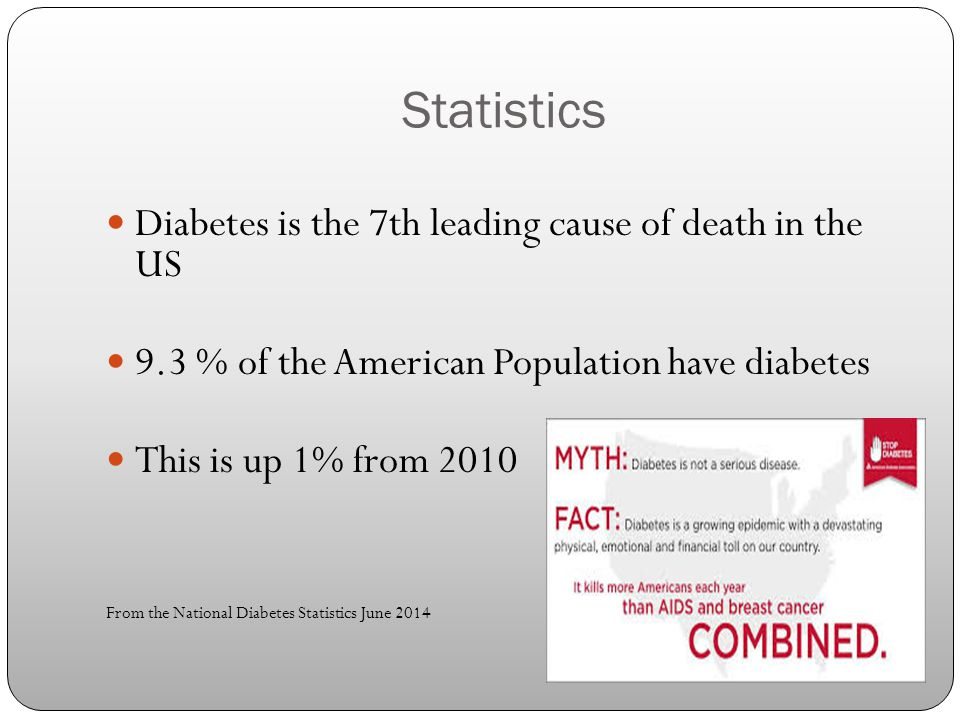 Statistics Diabetes is the 7th leading cause of death in the US