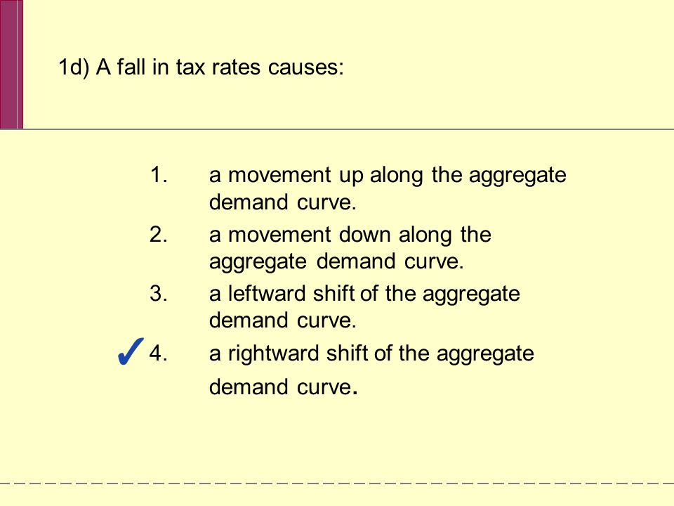 1d) A fall in tax rates causes: