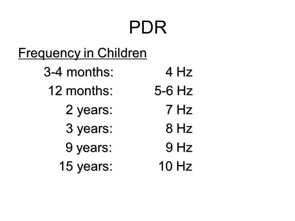 PDR Frequency in Children 3-4 months: 4 Hz 12 months: 5-6 Hz