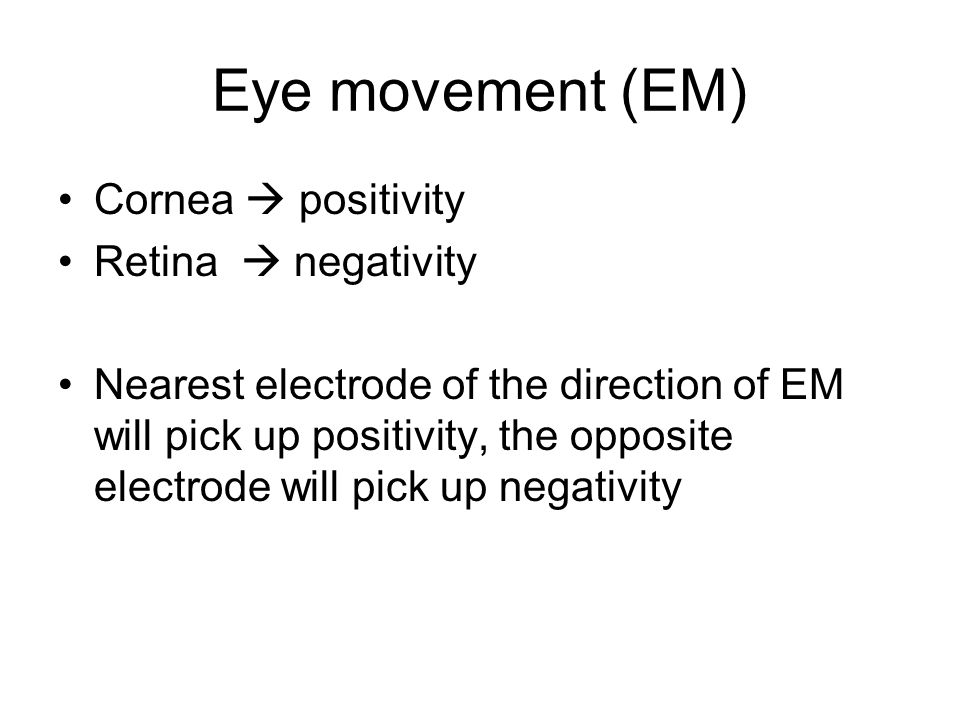 Eye movement (EM) Cornea  positivity Retina  negativity