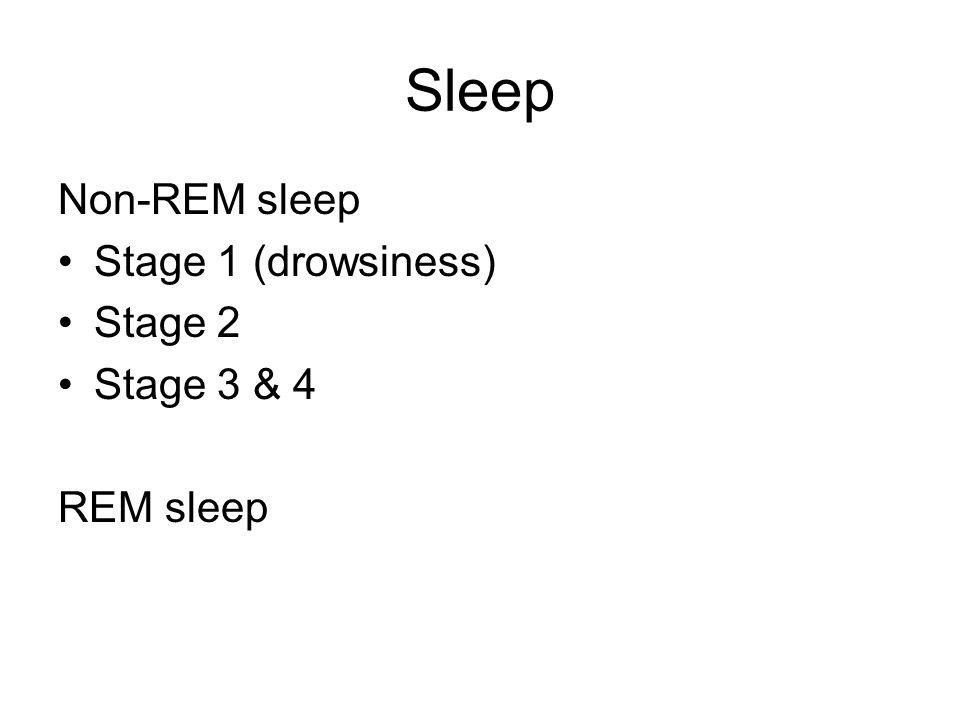 Sleep Non-REM sleep Stage 1 (drowsiness) Stage 2 Stage 3 & 4 REM sleep