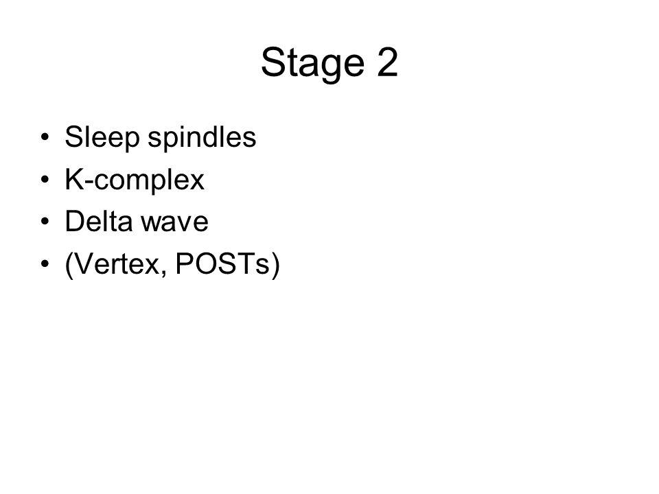 Stage 2 Sleep spindles K-complex Delta wave (Vertex, POSTs)