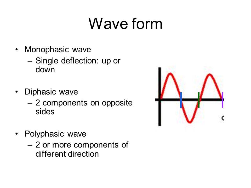 Wave form Monophasic wave Single deflection: up or down Diphasic wave