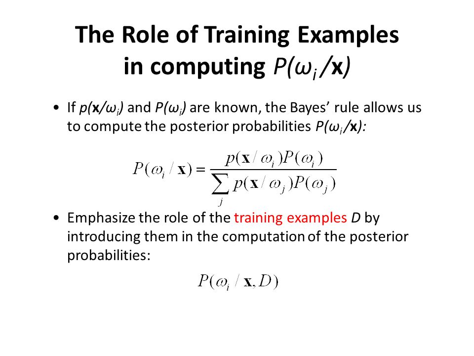 The Role of Training Examples in computing P(ωi /x)
