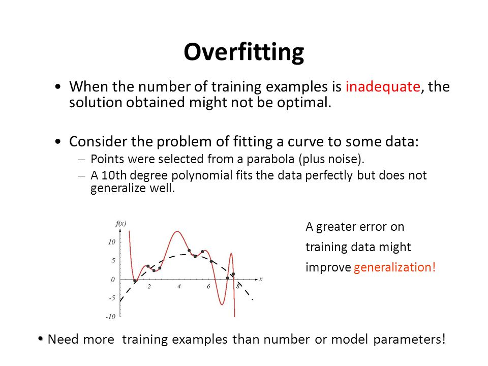 Overfitting When the number of training examples is inadequate, the solution obtained might not be optimal.