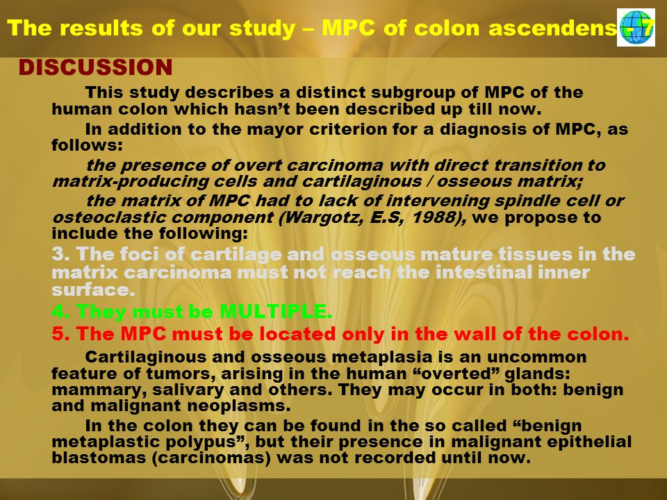 The results of our study – MPC of colon ascendens - 7