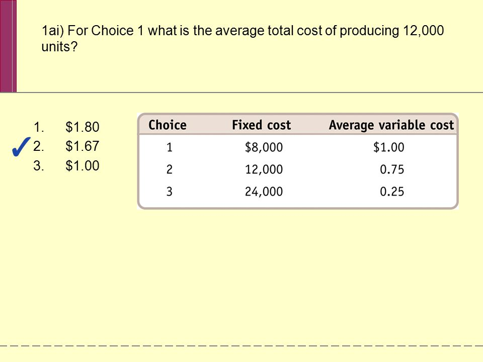 1ai) For Choice 1 what is the average total cost of producing 12,000 units