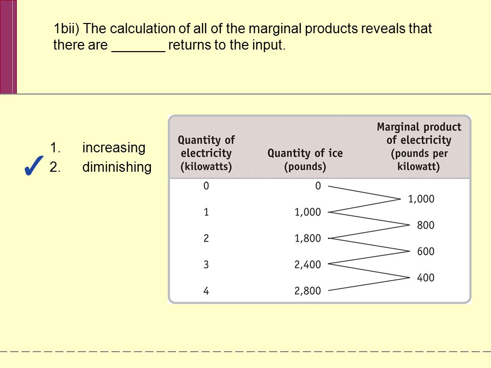 1bii) The calculation of all of the marginal products reveals that there are _______ returns to the input.