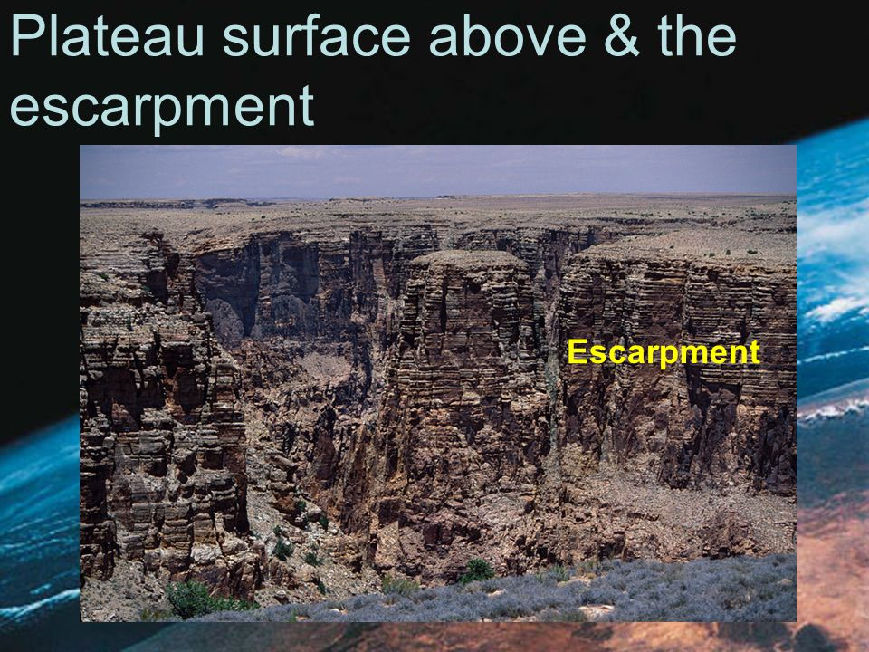 Plateau surface above & the escarpment