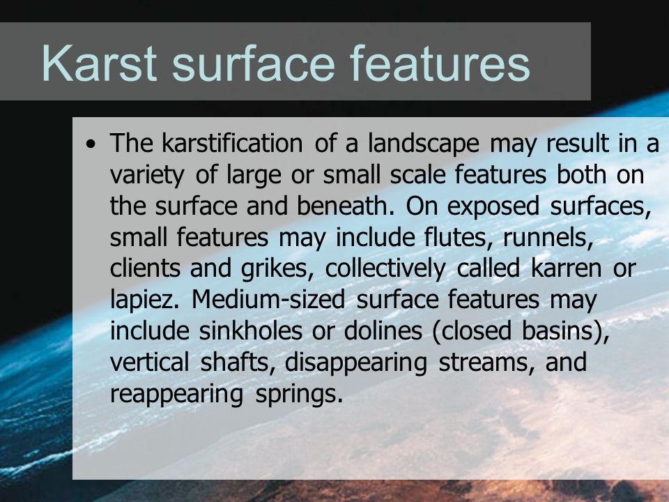 Karst surface features