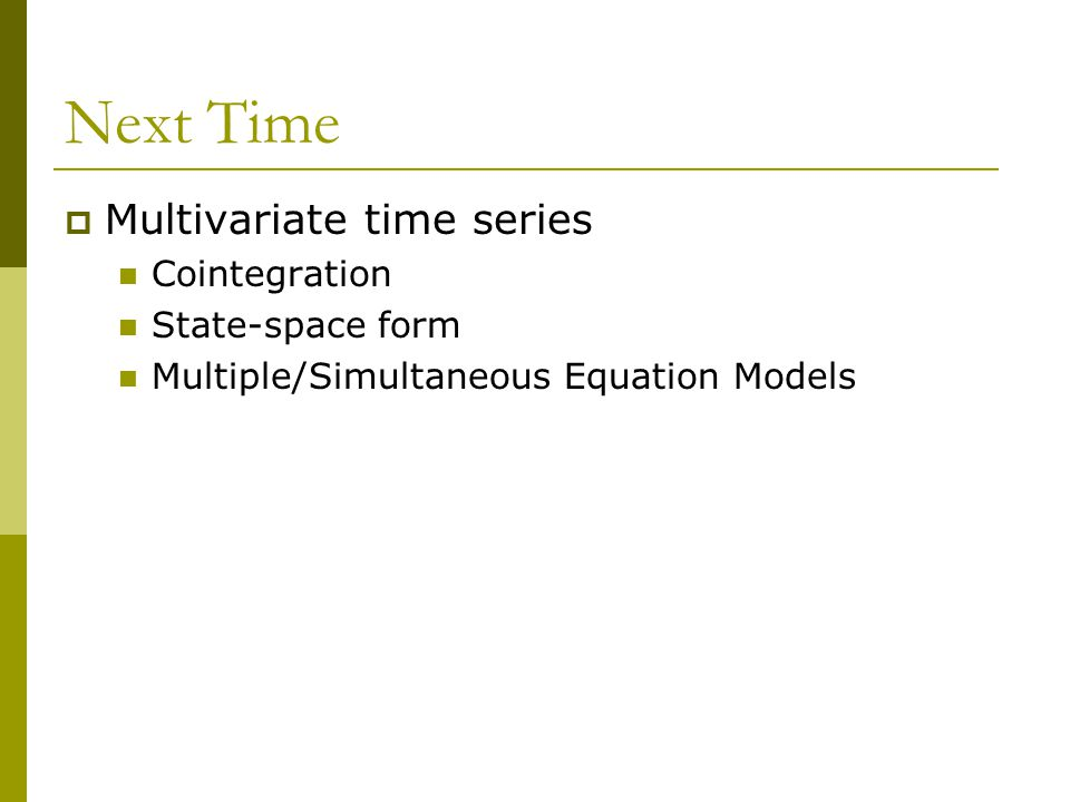 Next Time Multivariate time series Cointegration State-space form