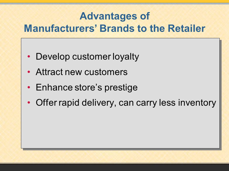 Advantages of Manufacturers' Brands to the Retailer