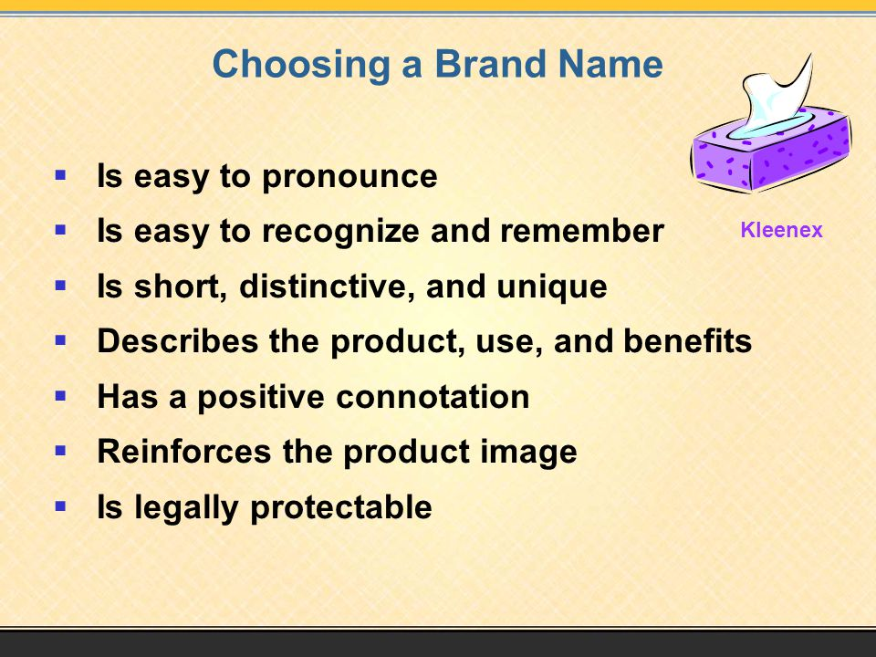 Choosing a Brand Name Is easy to pronounce