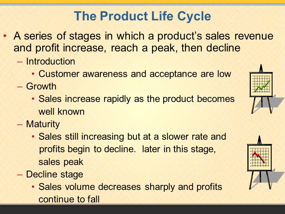 The Product Life Cycle A series of stages in which a product's sales revenue and profit increase, reach a peak, then decline.