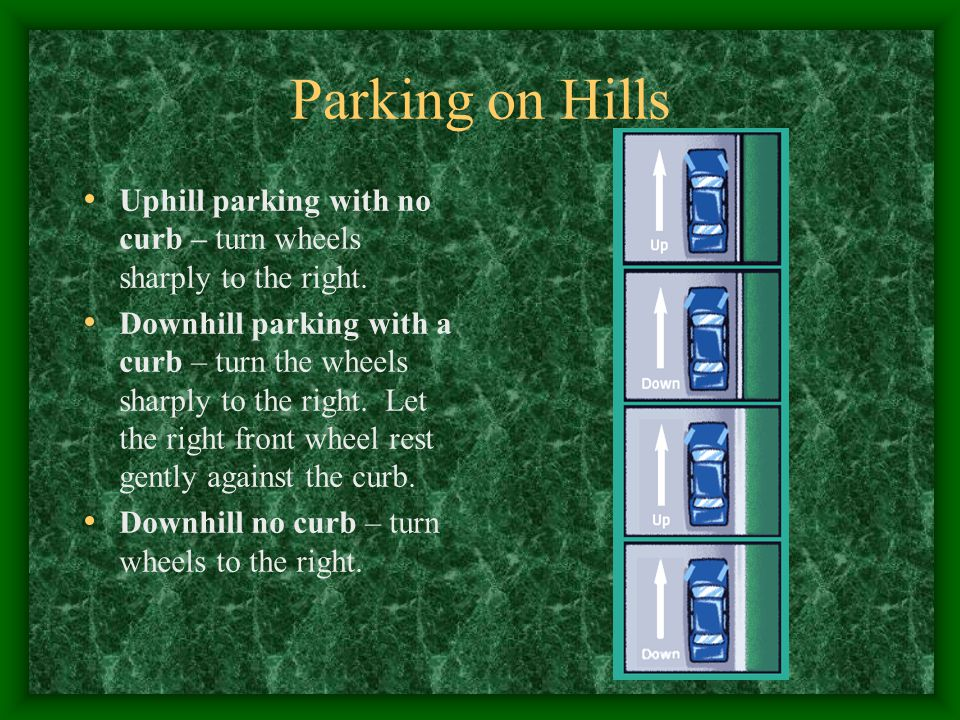 Parking on Hills Uphill parking with no curb – turn wheels sharply to the right.
