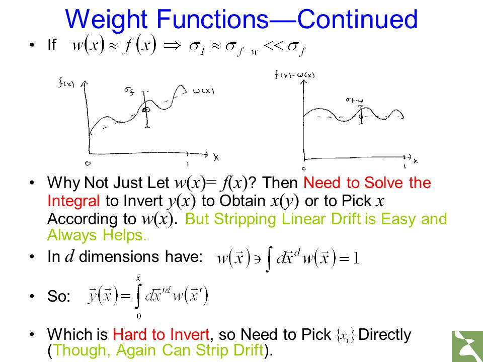 Weight Functions—Continued