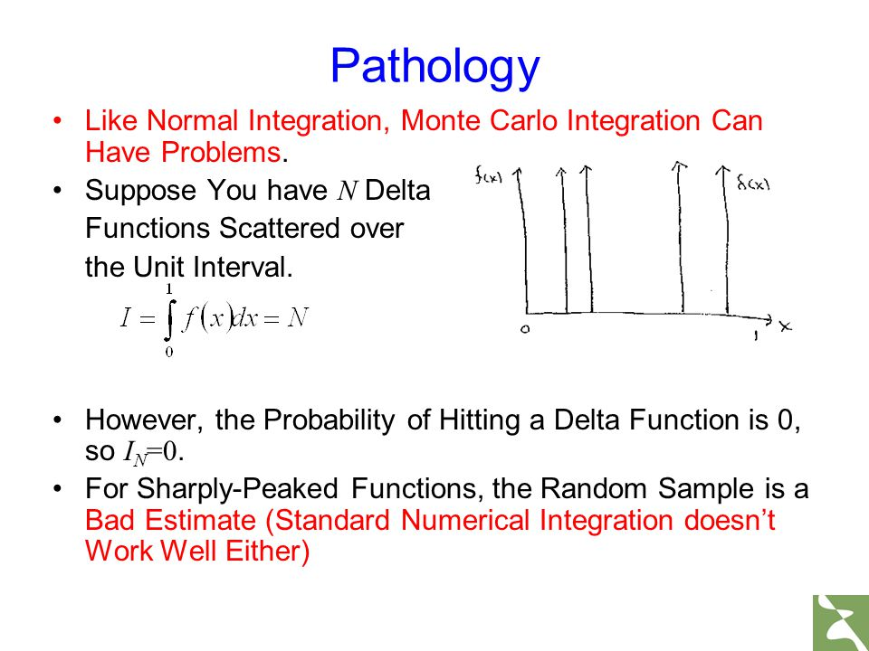 Pathology Like Normal Integration, Monte Carlo Integration Can Have Problems. Suppose You have N Delta.