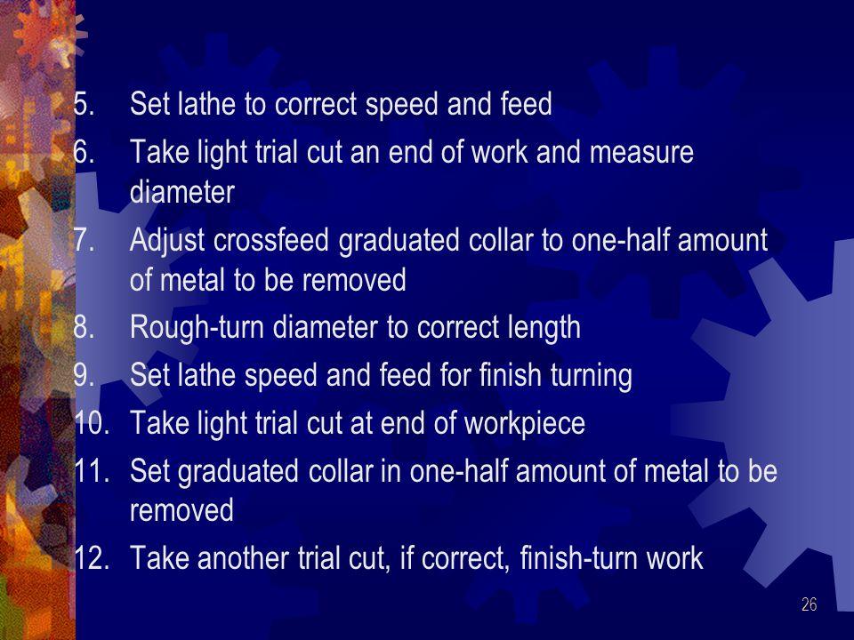 Set lathe to correct speed and feed
