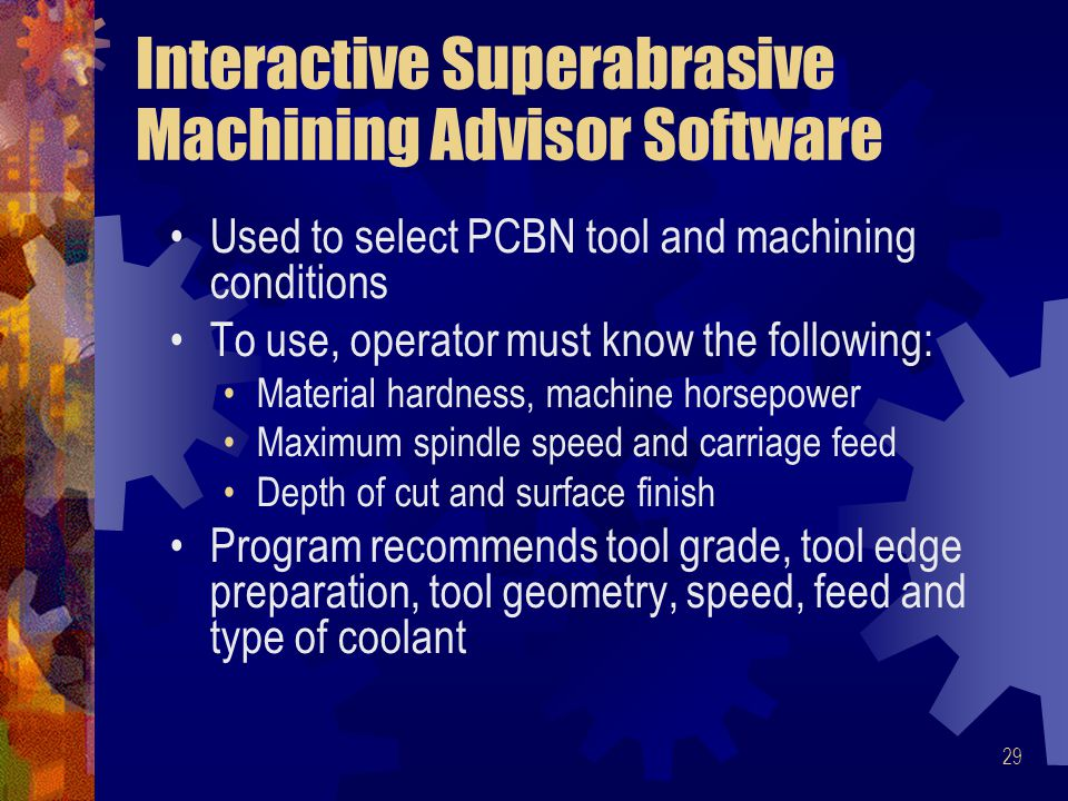 Interactive Superabrasive Machining Advisor Software