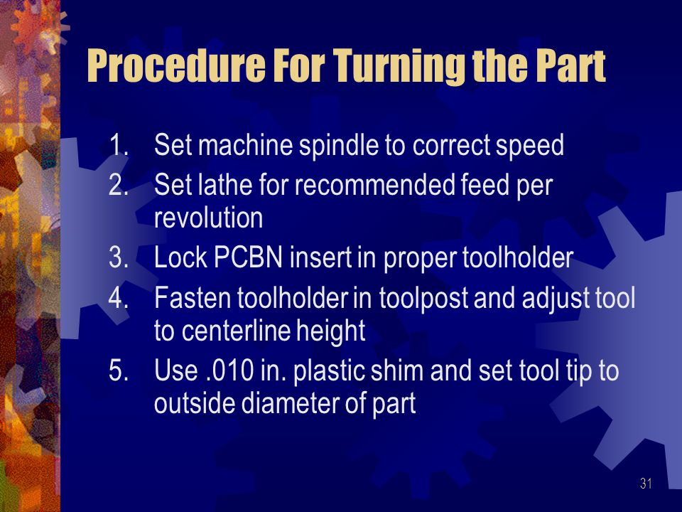 Procedure For Turning the Part