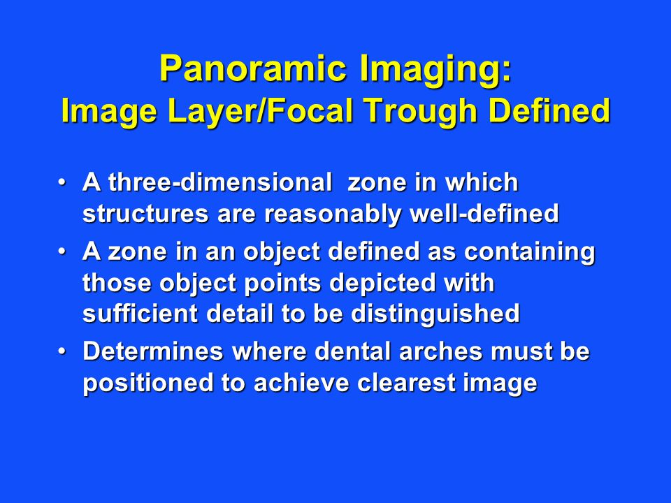 Panoramic Imaging: Image Layer/Focal Trough Defined