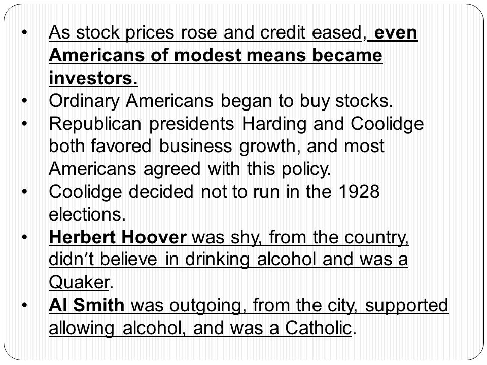 As stock prices rose and credit eased, even Americans of modest means became investors.