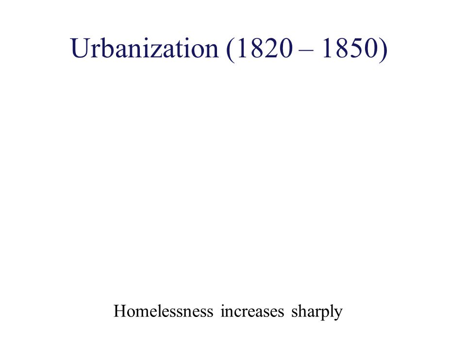 Urbanization (1820 – 1850) Homelessness increases sharply