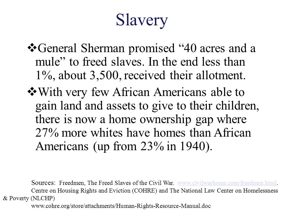 Slavery General Sherman promised 40 acres and a mule to freed slaves. In the end less than 1%, about 3,500, received their allotment.