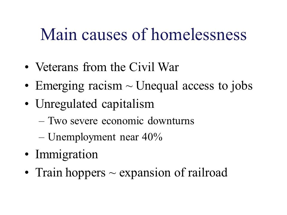 Main causes of homelessness